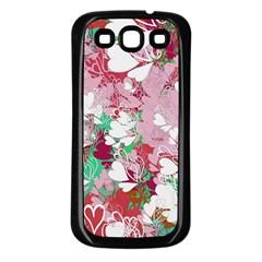 Confetti Hearts Digital Love Heart Background Pattern Samsung Galaxy S3 Back Case (black)