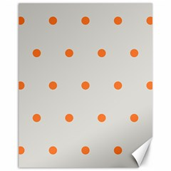 Diamond Polka Dot Grey Orange Circle Spot Canvas 11  x 14