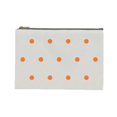 Diamond Polka Dot Grey Orange Circle Spot Cosmetic Bag (Large)