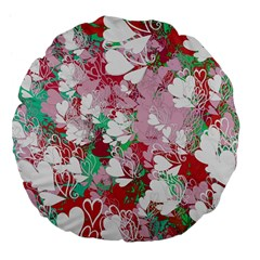 Confetti Hearts Digital Love Heart Background Pattern Large 18  Premium Flano Round Cushions