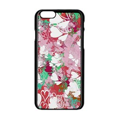 Confetti Hearts Digital Love Heart Background Pattern Apple iPhone 6/6S Black Enamel Case