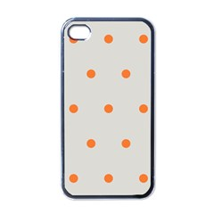 Diamond Polka Dot Grey Orange Circle Spot Apple iPhone 4 Case (Black)
