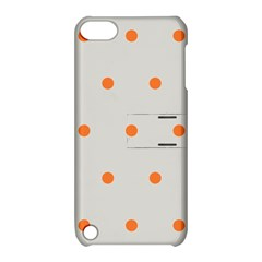 Diamond Polka Dot Grey Orange Circle Spot Apple iPod Touch 5 Hardshell Case with Stand