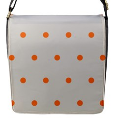 Diamond Polka Dot Grey Orange Circle Spot Flap Messenger Bag (S)