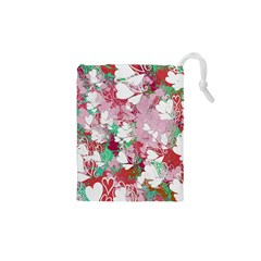 Confetti Hearts Digital Love Heart Background Pattern Drawstring Pouches (XS)