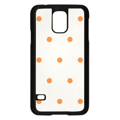 Diamond Polka Dot Grey Orange Circle Spot Samsung Galaxy S5 Case (Black)