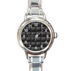 Black Cell Leather Retro Car Seat Textures Round Italian Charm Watch