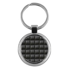 Black Cell Leather Retro Car Seat Textures Key Chains (round)