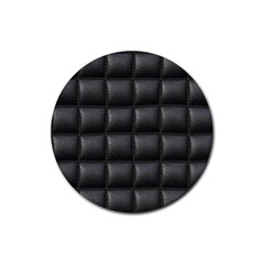 Black Cell Leather Retro Car Seat Textures Rubber Round Coaster (4 pack)