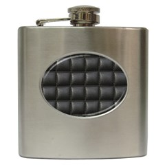 Black Cell Leather Retro Car Seat Textures Hip Flask (6 Oz)