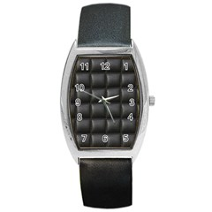 Black Cell Leather Retro Car Seat Textures Barrel Style Metal Watch