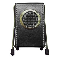 Black Cell Leather Retro Car Seat Textures Pen Holder Desk Clocks