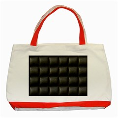 Black Cell Leather Retro Car Seat Textures Classic Tote Bag (red)