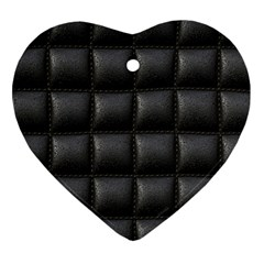 Black Cell Leather Retro Car Seat Textures Heart Ornament (Two Sides)