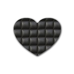 Black Cell Leather Retro Car Seat Textures Rubber Coaster (Heart)