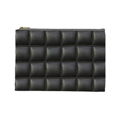 Black Cell Leather Retro Car Seat Textures Cosmetic Bag (Large)