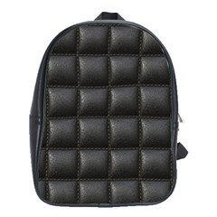Black Cell Leather Retro Car Seat Textures School Bags(Large)