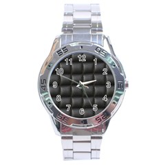 Black Cell Leather Retro Car Seat Textures Stainless Steel Analogue Watch