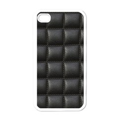 Black Cell Leather Retro Car Seat Textures Apple Iphone 4 Case (white)