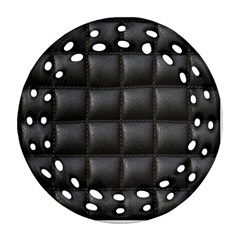 Black Cell Leather Retro Car Seat Textures Ornament (round Filigree)