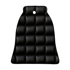 Black Cell Leather Retro Car Seat Textures Ornament (Bell)