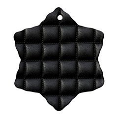 Black Cell Leather Retro Car Seat Textures Snowflake Ornament (Two Sides)
