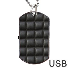 Black Cell Leather Retro Car Seat Textures Dog Tag USB Flash (One Side)
