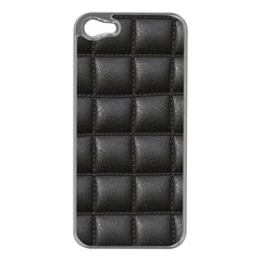 Black Cell Leather Retro Car Seat Textures Apple iPhone 5 Case (Silver)