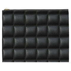 Black Cell Leather Retro Car Seat Textures Cosmetic Bag (XXXL)