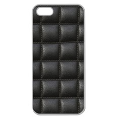 Black Cell Leather Retro Car Seat Textures Apple Seamless Iphone 5 Case (clear)