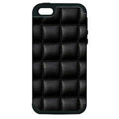 Black Cell Leather Retro Car Seat Textures Apple Iphone 5 Hardshell Case (pc+silicone)