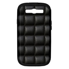 Black Cell Leather Retro Car Seat Textures Samsung Galaxy S III Hardshell Case (PC+Silicone)