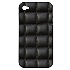 Black Cell Leather Retro Car Seat Textures Apple iPhone 4/4S Hardshell Case (PC+Silicone)