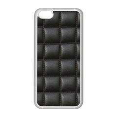 Black Cell Leather Retro Car Seat Textures Apple iPhone 5C Seamless Case (White)