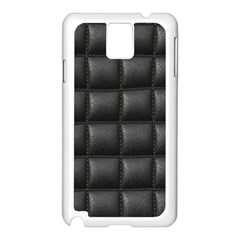 Black Cell Leather Retro Car Seat Textures Samsung Galaxy Note 3 N9005 Case (White)