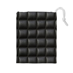 Black Cell Leather Retro Car Seat Textures Drawstring Pouches (large)