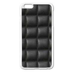 Black Cell Leather Retro Car Seat Textures Apple iPhone 6 Plus/6S Plus Enamel White Case