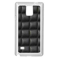 Black Cell Leather Retro Car Seat Textures Samsung Galaxy Note 4 Case (White)