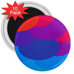 Circles Colorful Balloon Circle Purple Blue Red Orange 3  Magnets (10 pack)