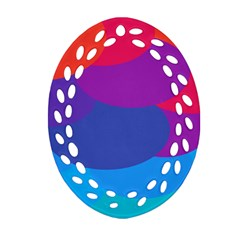 Circles Colorful Balloon Circle Purple Blue Red Orange Oval Filigree Ornament (Two Sides)