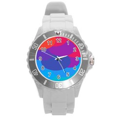 Circles Colorful Balloon Circle Purple Blue Red Orange Round Plastic Sport Watch (l)