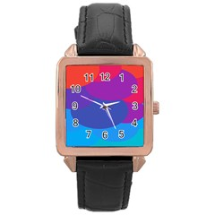 Circles Colorful Balloon Circle Purple Blue Red Orange Rose Gold Leather Watch