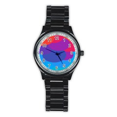 Circles Colorful Balloon Circle Purple Blue Red Orange Stainless Steel Round Watch