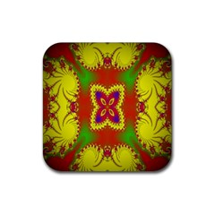 Digital Color Ornament Rubber Square Coaster (4 Pack)