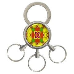 Digital Color Ornament 3-Ring Key Chains