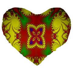Digital Color Ornament Large 19  Premium Heart Shape Cushions