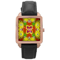 Digital Color Ornament Rose Gold Leather Watch