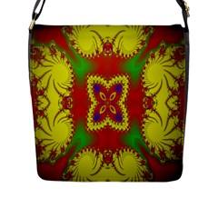 Digital Color Ornament Flap Messenger Bag (L)