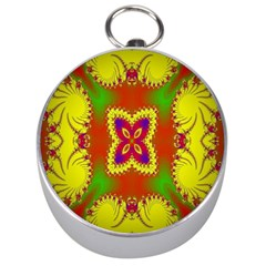 Digital Color Ornament Silver Compasses