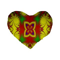 Digital Color Ornament Standard 16  Premium Flano Heart Shape Cushions